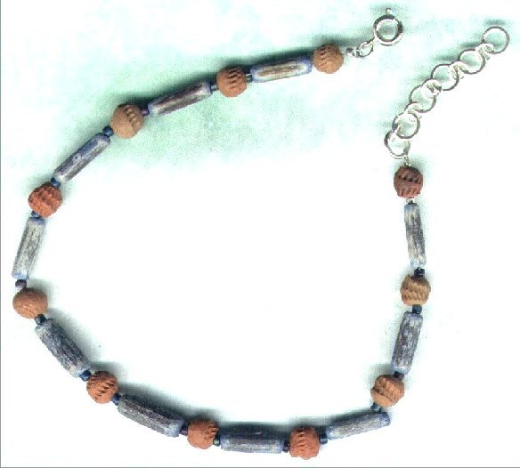 "Handcrafted Wooden and Terracotta Beaded Anklet  ""Inca"" - PreciousThings.ecrater.com"