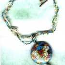 Braided Beaded Necklace with Enamelled Butterfly Pendant - PreciousThings.ecrater.com