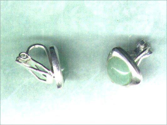 Green Aventurine Gemstone Clip-on Silverplated Triangular Earrings - PreciousThings.ecrater.com