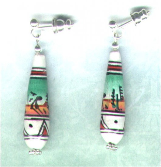 Decorated Peruvian Clay Teardrop Beaded Earrings - PreciousThings.ecrater.com