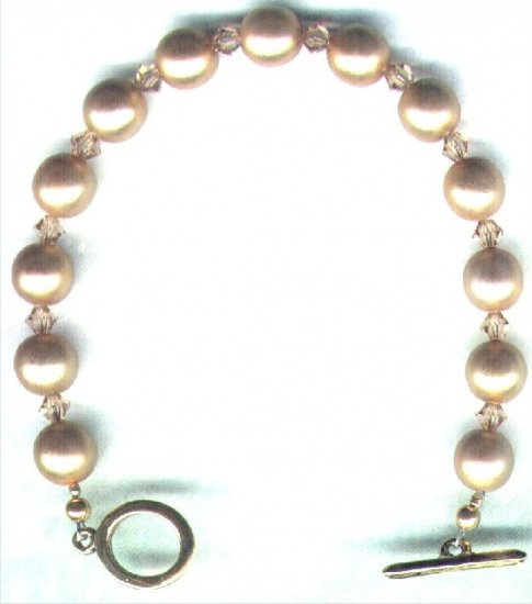 Gold Glass Pearl and Swarovski Crystal Beaded Bracelet - PreciousThings.ecrater.com
