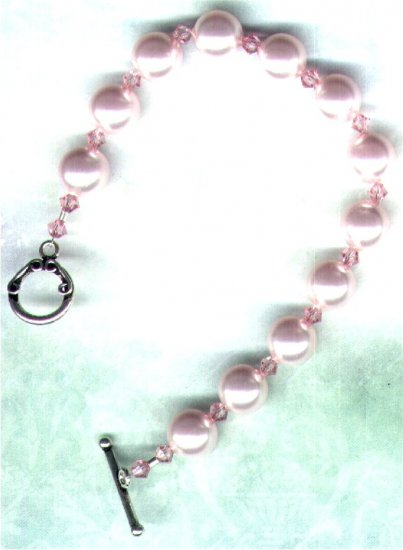 "Soft Pink Swarovski Pearl and Crystal Beaded Bracelet ""Rosaline"" - PreciousThings.ecrater.com"