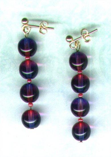 "Bicoloured Glass Beaded Earrings ""Amethyst 'n' Fuchsia"" - PreciousThings.ecrater.com"
