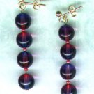 "Bicoloured Glass Beaded Earrings ""Amethyst 'n' Fuchsia"" - PreciousThings.ecrater.com"