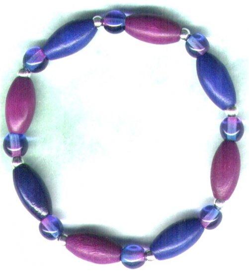 """Elasticated Wooden Beaded Bracelet """"Purple 'n' Blue Brights"""" - PreciousThings.ecrater.com"""