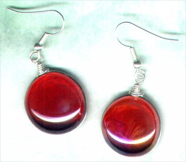 Red Lustre Globe Beaded Earrings - PreciousThings.ecrater.com