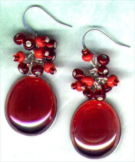 Embellished Red Lustre Globe Beaded Earrings - PreciousThings.ecrater.com