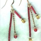 "Handmade Triple Dangle Beaded Earrings ""Christmas Glitz"" - PreciousThings.ecrater.com"