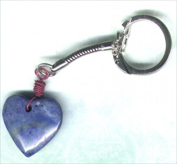 Handmade Blue Marbled Stone Heart Keyring - PreciousThings.ecrater.com