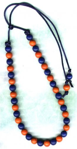 Handcrafted Tie-up Necklace with Blue and Orange Wooden Beads - PreciousThings.ecrater.com