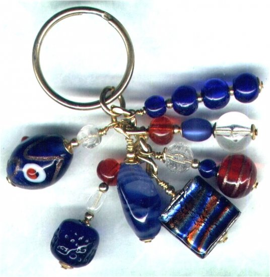 "Handmade Sweetie Box Beaded Cluster Keyring/Handbag Charm ""Army & Navy"" - PreciousThings.ecrater.com"