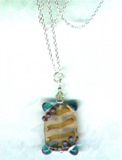 "Lampworked Glass Beaded Pendant with 18"" Silver Chain ""Bumpy"" - PreciousThings.ecrater.com"