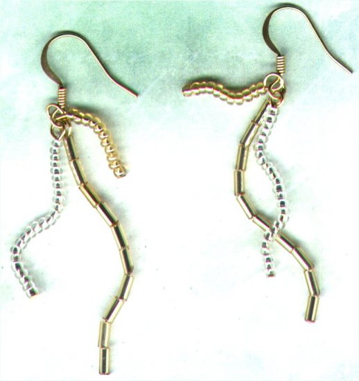"Glass Triple Dangle Beaded Earrings ""Gold 'n' Silver Squiggle"" - PreciousThings.ecrater.com"