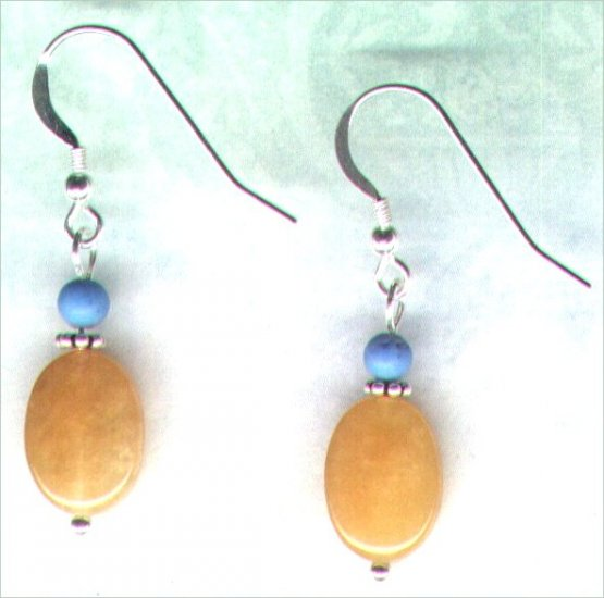 Smooth Yellow Jade and Turquoise Gemstone Beaded Earrings - PreciousThings.ecrater.com