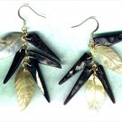 "Carved Mother-of-Pearl Leaf Dangle Gemstone Earrings ""Golden Shimmer"" - PreciousThings.ecrater.com"