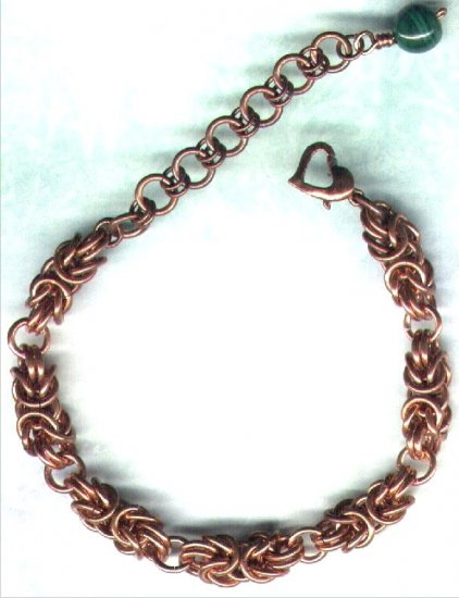 Copper Byzantine Chain Maille Handcrafted Bracelet with Malachite - PreciousThings.ecrater.com