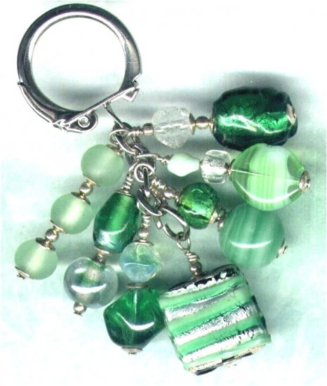 "Handmade Sweetie Box Cluster Beaded Keyring/Handbag Charm ""Sour Apples"" - PreciousThings.ecrater.com"