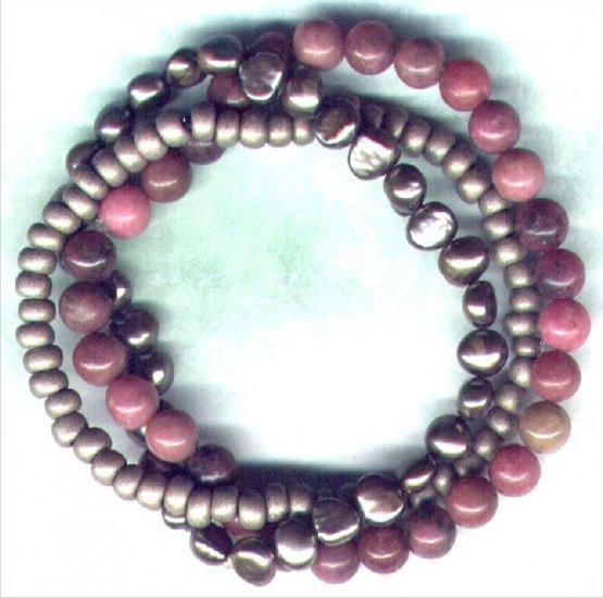 """Rhodonite and Pearl Gemstone Beaded Bracelet Set """"Burning Rose"""" - PreciousThings.ecrater.com"""