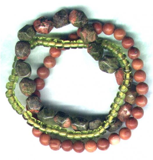 "Unakite Gemstone Elasticated Beaded Bracelet Set ""Mossy Banks"" - PreciousThings.ecrater.com"