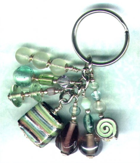 "Handmade Sweetie Box Cluster Beaded Keyring/Handbag Charm ""Mixed Fruit"" - PreciousThings.ecrater.com"