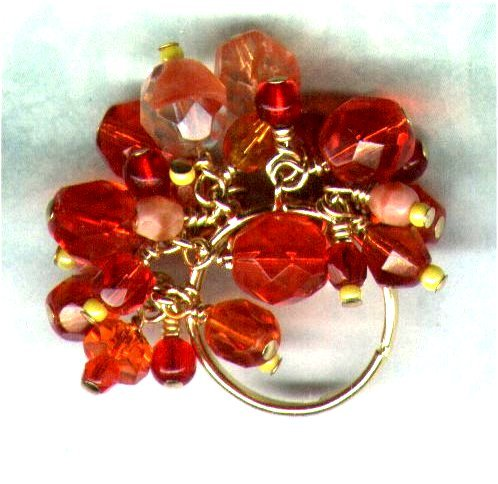 "Adjustable Handmade Glass Cluster Beaded Ring ""Shake, Rattle 'n' Roll"" - PreciousThings.ecrater.com"