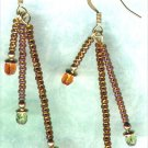 "Handmade Triple Dangle Beaded Earrings ""Golden Brown"" - PreciousThings.ecrater.com"
