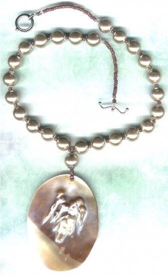 Handmade Blister Pearl Pendant Beaded Necklace - PreciousThings ecrater.com