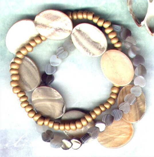 "Botswana Agate Gemstone Elasticated Beaded Bracelet Set ""Sandy Shores"" - PreciousThings.ecrater.com"