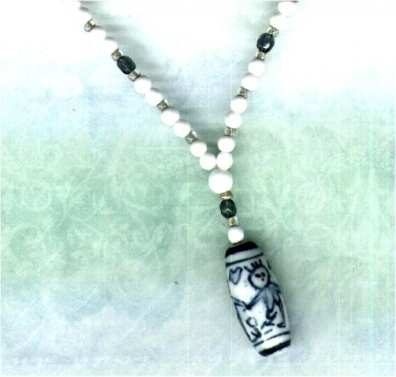 Handmade Y-shaped Beaded Necklace with Chinese Porcelain Pendant - PreciousThings.ecrater.com