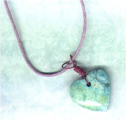 Handmade Green Marbled Stone Heart Pendant with Waxed Cord - PreciousThings.ecrater.com