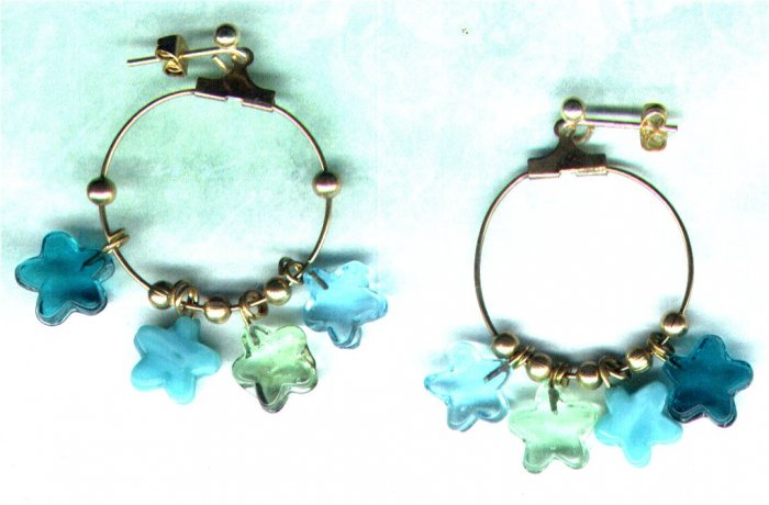 Handmade Aqua Star Charm Hoop Earrings - PreciousThings.ecrater.com