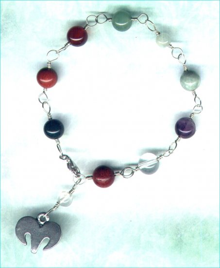 "Handcrafted Gemstone Bracelet with Zodiac Charm ""Aries"" - PreciousThings.ecrater.com"