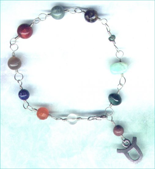 "Handcrafted Gemstone Bracelet with Zodiac Charm ""Taurus"" - PreciousThings.ecrater.com"