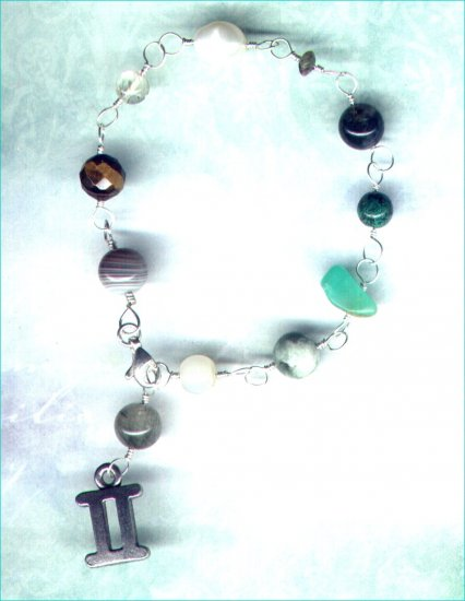 "Handcrafted Gemstone Bracelet with Zodiac Charm ""Gemini"" - PreciousThings.ecrater.com"