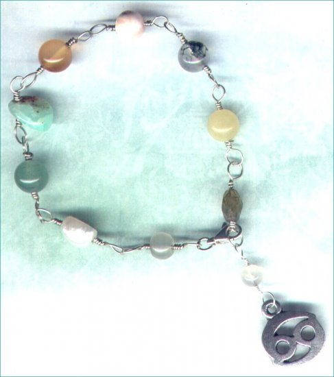 """Handcrafted Gemstone Bracelet with Zodiac Charm """"Cancer"""" - PreciousThings.ecrater.com"""