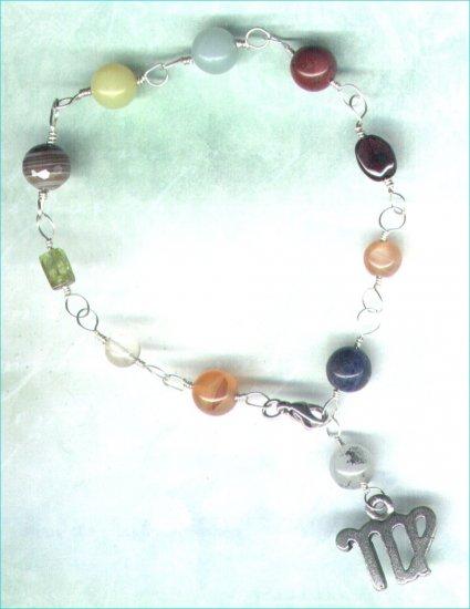 "Handcrafted Gemstone Bracelet with Zodiac Charm ""Virgo"" - PreciousThings.ecrater.com"