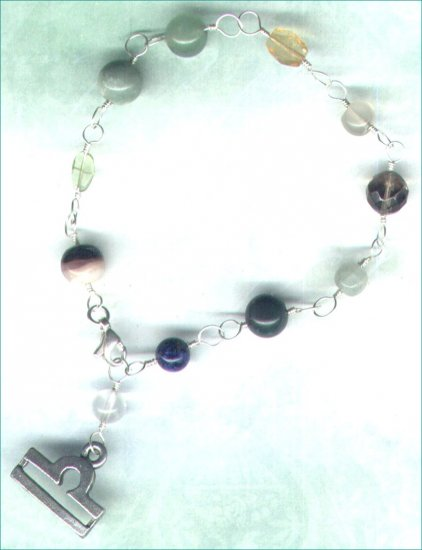 "Handcrafted Gemstone Bracelet with Zodiac Charm ""Libra"" - PreciousThings.ecrater.com"