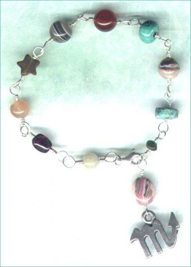 "Handcrafted Gemstone Bracelet with Zodiac Charm ""Scorpio"" - PreciousThings.ecrater.com"