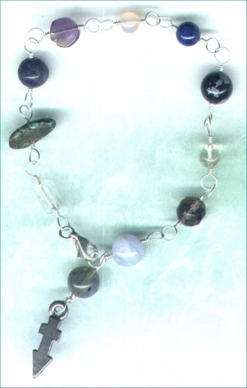 "Handcrafted Gemstone Bracelet with Zodiac Charm ""Sagittarius"" - PreciousThings.ecrater.com"