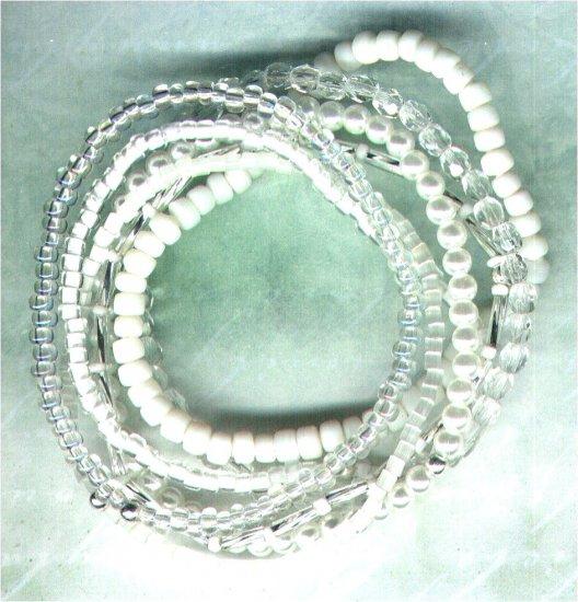 "Beaded Elasticated Bracelet Nest ""The Whites"" - PreciousThings.ecrater.com"
