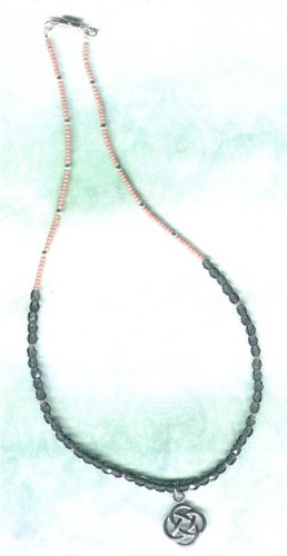 Montana Crystal Beaded Necklace with Celtic Knot Pewter Pendant - PreciousThings.ecrater.com