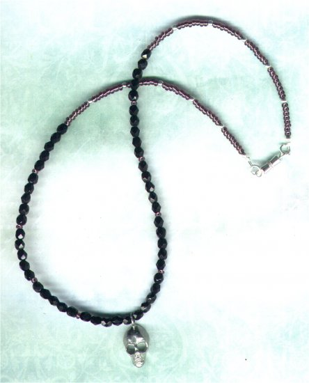 Jet Black Crystal Beaded Necklace with Pewter Skull Pendant - PreciousThings.ecrater.com