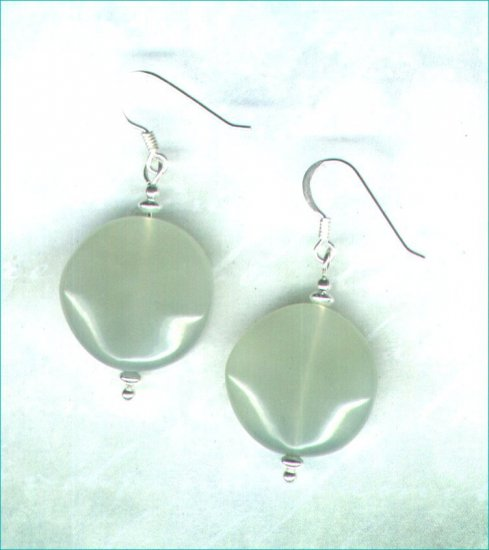 Sterling Silver and Bowenite Gemstone Disc Earrings - PreciousThings.ecrater.com