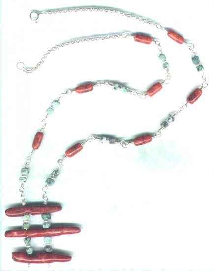 Handcrafted Red Coral and African Turquoise Gemstone Necklace