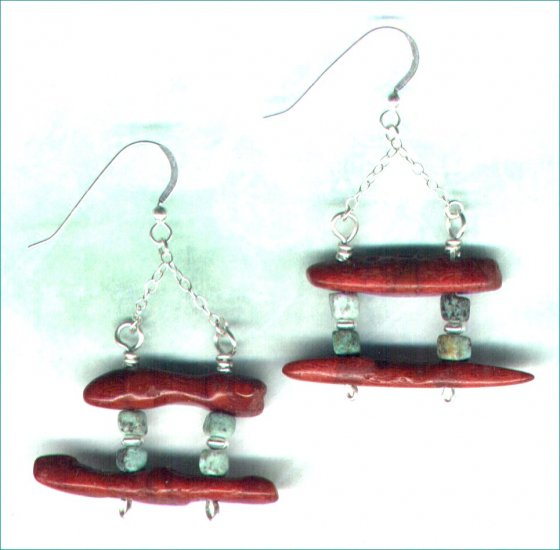 Handcrafted Red Coral and African Turquoise Gemstone Earrings