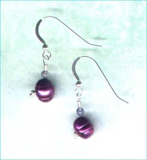 "Freshwater Pearl and Iolite Earrings ""Elderberry"""