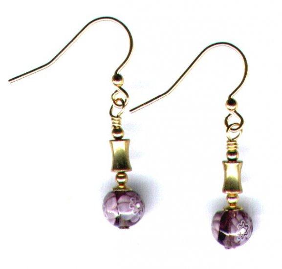 """Handmade Glass Beaded Drop Earrings """"Amethyst Flower"""""""