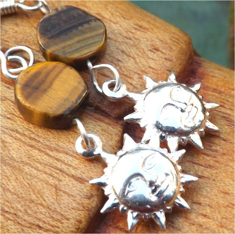 "Sun Silver Charm and Tiger's-Eye Gemstone Earrings ""Here Comes The Sun"" - PreciousThings.ecrater.com"