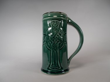 Celtic Cross Beer Mug forest green stoneware by Chischilly Pottery