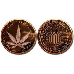 NEW 2013 Marijuana Legalize It .999 Copper Bullion Rounds